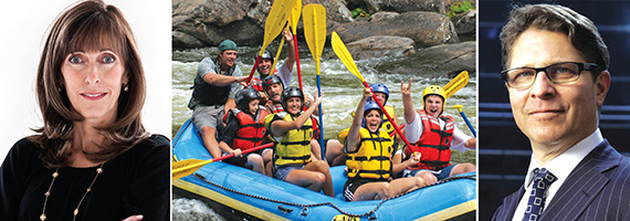 From left: Eastern Consolidated's Daun Paris, a whitewater rafting trip and James Wacht of Lee & Associates