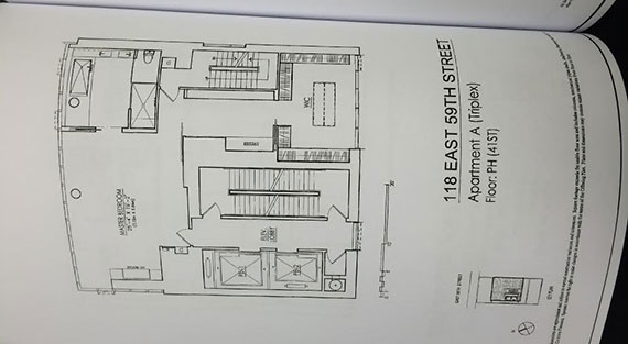 The floor plan for a penthouse at 118 East 59th Street