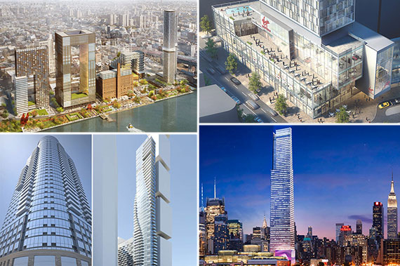 Clockwise from left: Renderings of the Domino Sugar Factory redevelopment in Brooklyn, the new Virgin hotel at 1227 Broadway, 86 Fleet Place in Brooklyn, 151 Maiden Lane and 400 11th Avenue