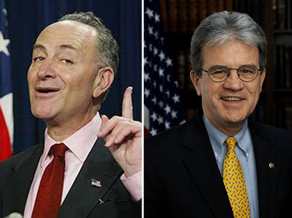 From left: Chuck Schumer and Tom Coburn