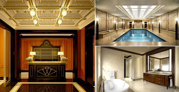 Clockwise from left: Renderings of he Woolworth Residences lobby, a reconstructed pool in the basement and a bathroom unit