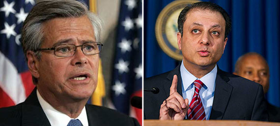 From left: Dean Skelos and Preet Bharara
