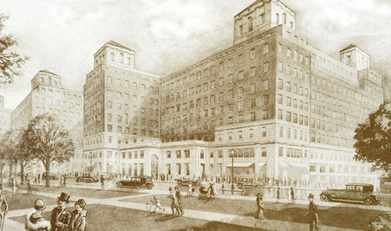 A 1920 drawing of London's Grosvenor House Hotel