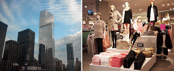 From left: 4 World Trade Center and an H&M store