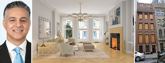 From left: Asher Alcobi, a rendering of the living room at 12 East 80th Street and 12 East 80th Street