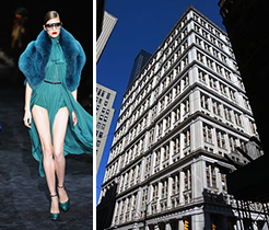Gucci model and 195 Broadway in the Financial District
