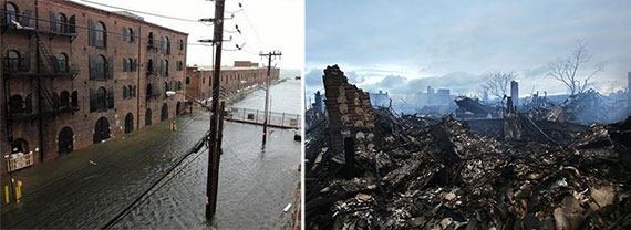 The aftermath of Hurricane Sandy in 2012 in Lower Manhattan (left) and the Rockaways (right)