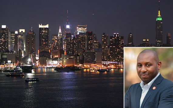 The New York City skyline and Council member Donovan Richards (inset)