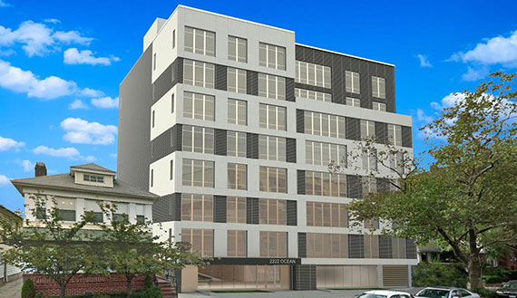 Rendering of 2222 Ocean Avenue (Credit: