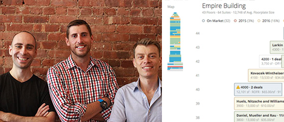 From left: Hightower's Donald DeSantis, Brandon Weber and Niall Smart  and a screenshot of the product