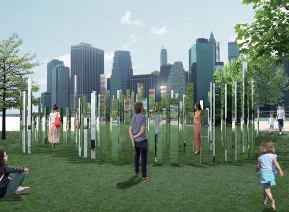 Rendering of new art coming to Brooklyn Bridge Park (Credit: Jeppe Hein)