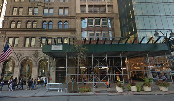 Scaffolding around the retail unit at 509 Fifth Avenue