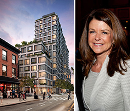 From left: Rendering of 550 Vanderbilt Avenue in Prospect Heights and Forest City Ratner CEO MaryAnne Gilmartin