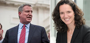From left: Bill de Blasio and Rent Guidelines Board chair Rachel Godsil