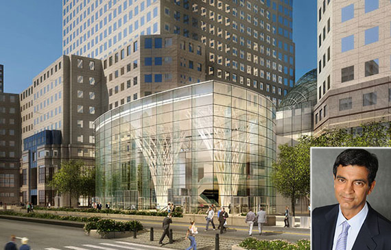Rendering of Brookfield Place in the Financial District (inset: Mathrani)