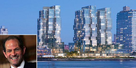 A rendering of Spitzer Enterprises' development along the Williamsburg Waterfront (Credit: ODA Architecture) and Eliot Spitzer