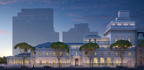 A rendering of the proposed expansion at the Frick Collection on the Upper East Side