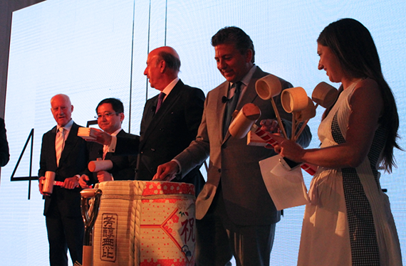 From left: Lord Norman Foster, Tokyu Land Corporation president Hitoshi Uemura, David Levinson and Robert Lapidus