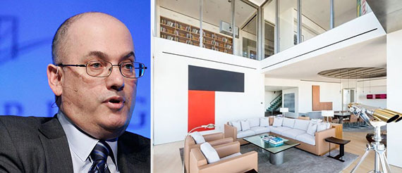 From left: Steve Cohen and his penthouse at One Beacon Court