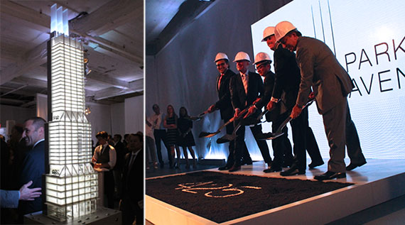 From left: a model of 425 Park and Lord Norman Foster, Tokyu Land Corporation president Hitoshi Uemura, David Levinson, Robert Lapidus and L&L marketing director Sara Fay at last month's groundbreaking