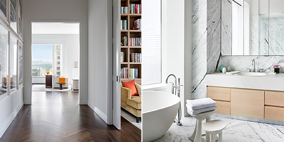 From left to right: Gallery and bathroom at 432 Park (Photo: Scott Frances for CIM Group & Macklowe Properties)