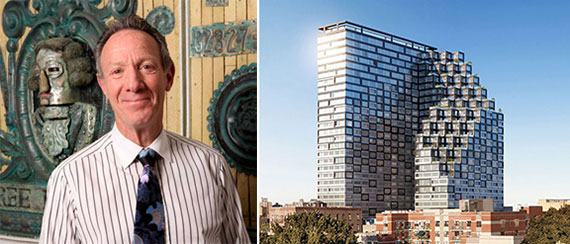 From left: Ian Bruce Eichner and a rendering of 1800 Park Avenue in Harlem (credit: ODA)