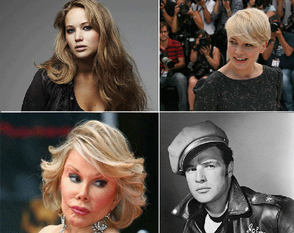 Jennifer Lawrence, Michelle Williams, Joan Rivers and Marlon Brando