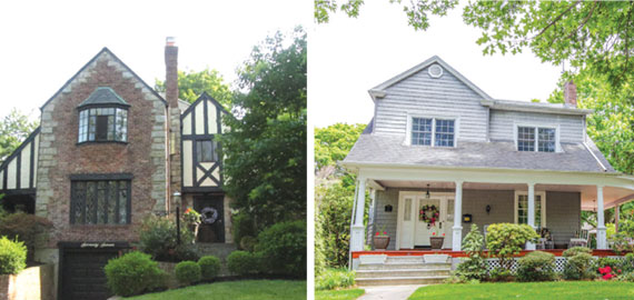 From left: 77 Pickwick Road in Manhasset and 51 Broadway in Rockville Centre