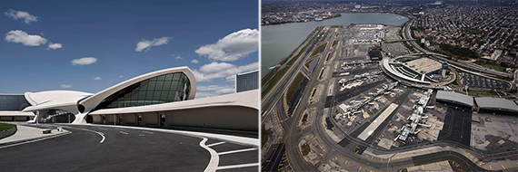 From left: Rendering of TWA Flight Center Hotel at JFK Airport (Credit: MCR Development) and LaGuardia Airport