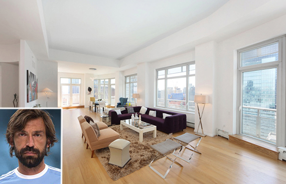 205 East 59th Street in Midtown (inset: Andrea Pirlo)