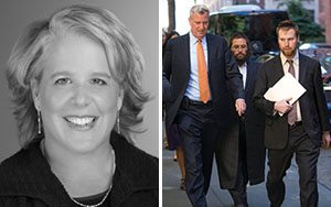 From left: Roberta Kaplan and Mayor Bill de Blasio walking with Avi Fink