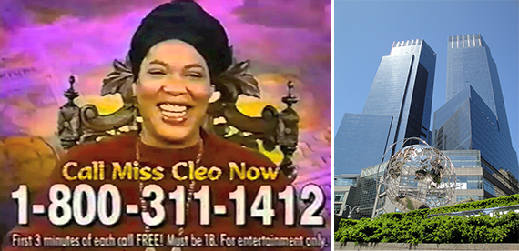"From left: ""Miss Cleo"" and the Time Warner Center in Columbus Circle"