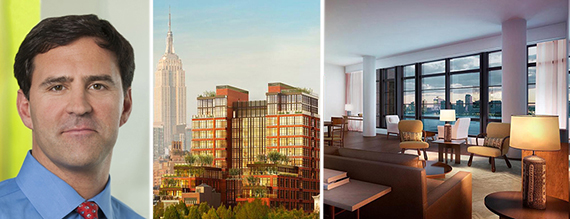 Greg Blatt and renderings of 150 Charles Street in the West Village
