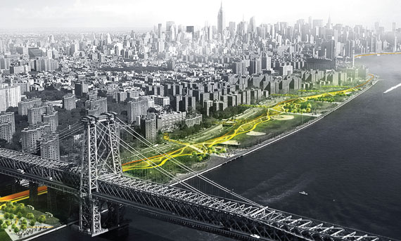 """Dryline"" will stretch from East 23rd Street to just south of the Williamsburg Bridge. The barrier is part of a bigger project to protect Manhattan from future floods."