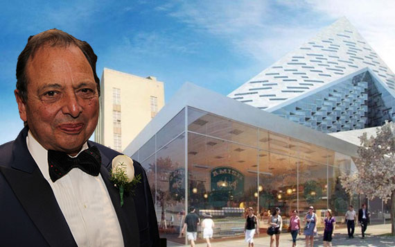 Douglas Durst and a rendering of the retail at 625 West 57th Street