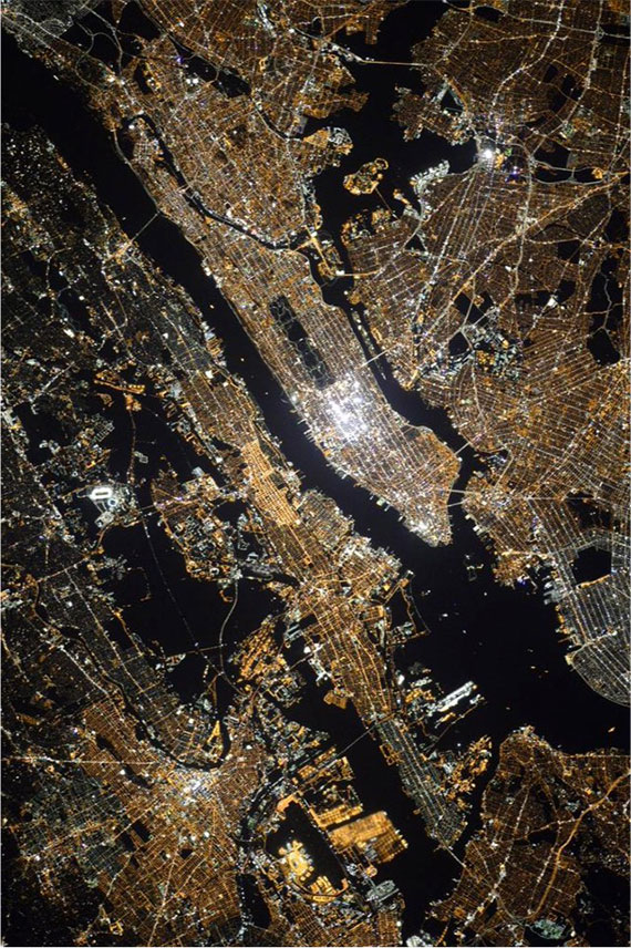 A photo of New York City from space (Credit: Oleg Kononenko/ISS)