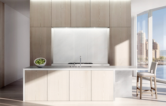 Rendering of kitchen at 160 Leroy
