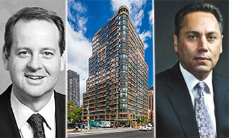 From left: Dermot CEO Stephen Benjamin, 377 East 33rd Street in Kips Bay and AvalonBay Communities CEO Timothy Naughton