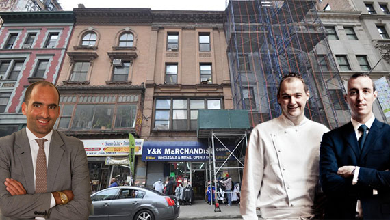 From left: Jack Terzi, Daniel Humm and Will Guidara with 6-8 west 28th Street in NoMad