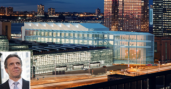 Rendering of Javits Center (inset: Gov. Andrew Cuomo)