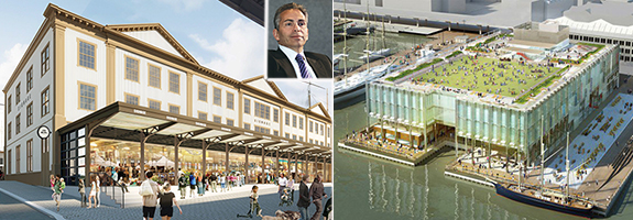 From left: Rendering of Tin House and Pier 17 (inset: Dave Weinreb)