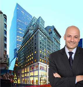 Coach CEO Victor Luis and a rendering of 685 5th Avenue