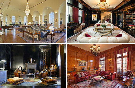 Clockwise from top left: Martin Zweig's Pierre Hotel triplex, Tommy Hilfiger's condominium at the Plaza Hotel, Ilon Specht's Dakota flat, Kenneth Laub's townhouse at 163 East 64th Street on the Upper East Side