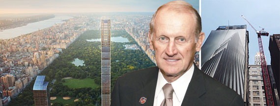 Richard Anderson with a rendering of 111 West 57th Street and a photo of the construction site