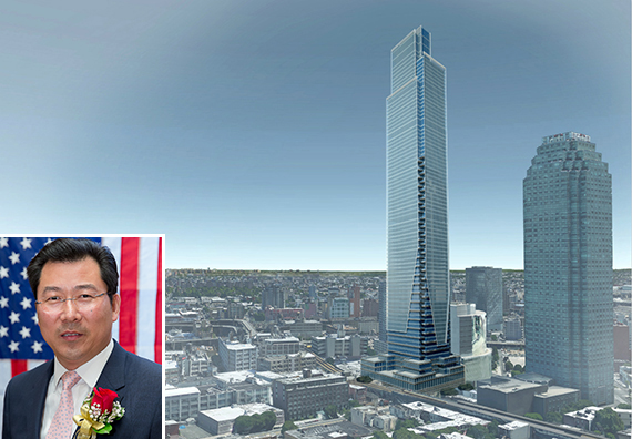 A rendering of the planned Court Square City View Tower at 23-15 44th Drive in Long Island City (inset: Chris Xu)