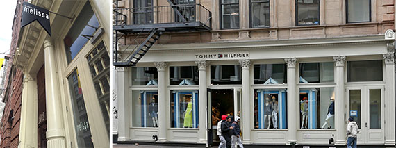 Melissa Shoes' storefront at 102 Greene Street in Soho and 500 Broadway