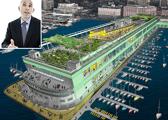 A rendering of the Pier 57 redevelopment (inset: Scott Rechler)