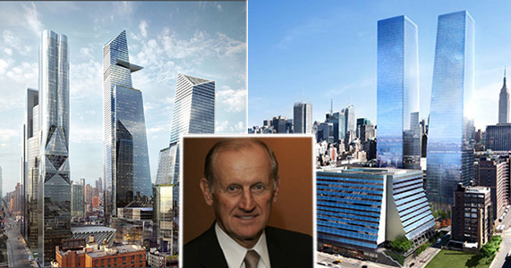 From left: Hudson Yards and 1 Manhattan West (inset: Richard Anderson)