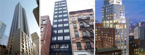 From left: 99 Washington Street, 163 Orchard Street and 171 Ludlow Street