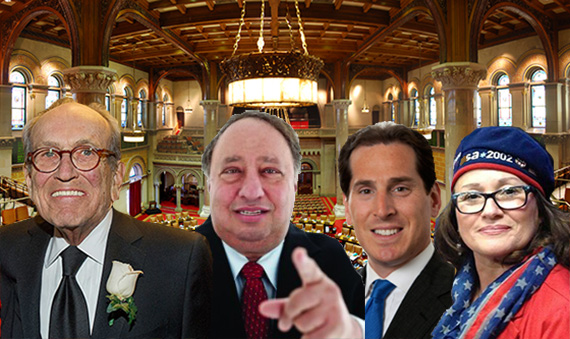 New York State Assembly Chamber (inset from left: Burton Resnick, John Catsimatidis, Todd Kaminsky and Alice Cancel